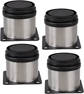BQLZR Furniture Cabinet Metal Legs Adjustable Stainless Steel Kitchen Feet Round Black and Silver 50 x 50mm Pack of 4