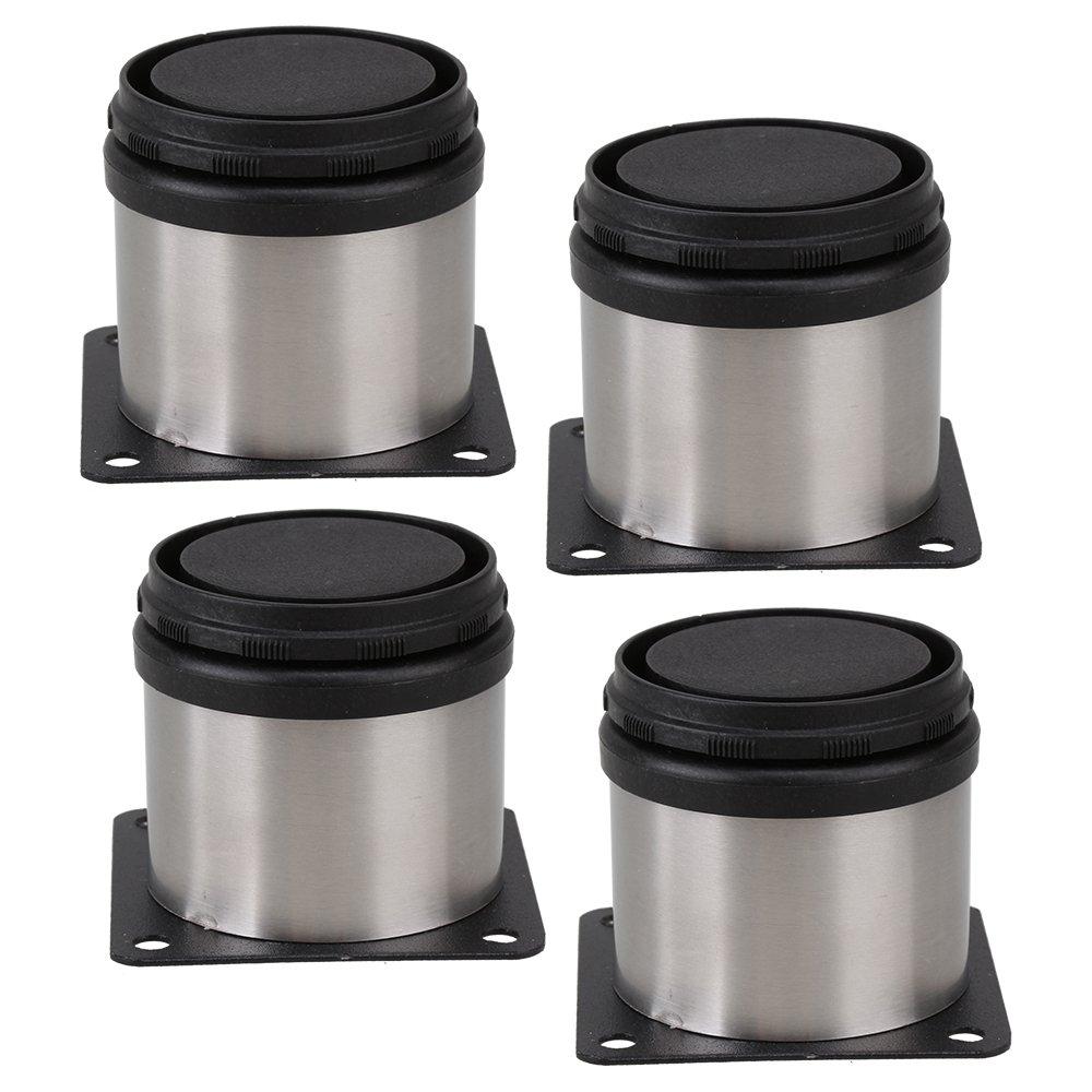 BQLZR Armario de muebles Patas de metal Patas de cocina de acero inoxidable ajustables Redondo negro y plata 50 x 50 mm Paquete de 4 N10371