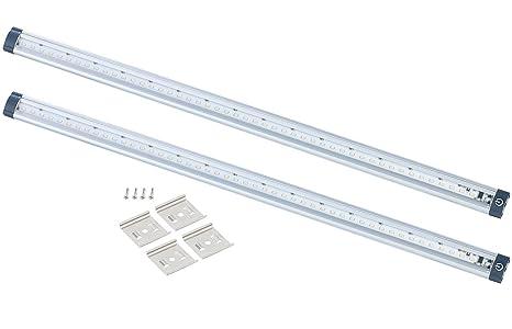 Luminea LEDleiste Küche: LED-Unterbauleuchten 2er-Set, 50 cm, Touch-Sensor,  5 Watt, 3000 K (Unterbaulampen)