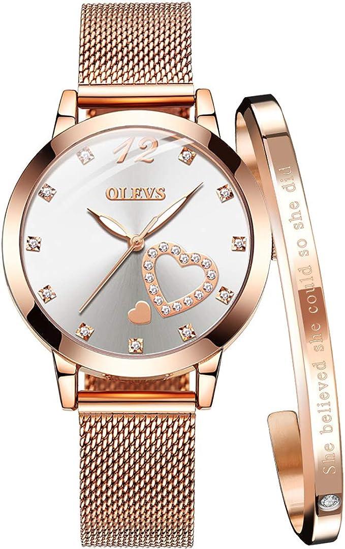 Amazon Com Olevs Women S Rose Gold Watches Heart Diamond Japanese Quartz Movement Girls Ladies Wristwatch Big Face Waterproof Mesh Belt Watch And Bracelet Set Valentines Day Gifts Watches