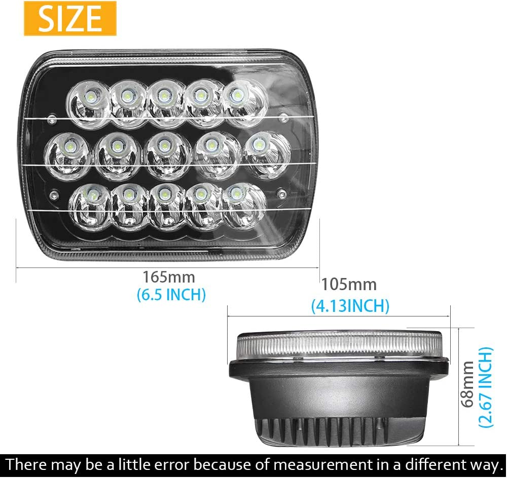 CO LIGHT Pair 7x6 5x7inchs LED Headlights Sealed Beam Hi//Lo H6054 H5054 H6014 69822 6052 6053 for XJ YJ Cherokee E250
