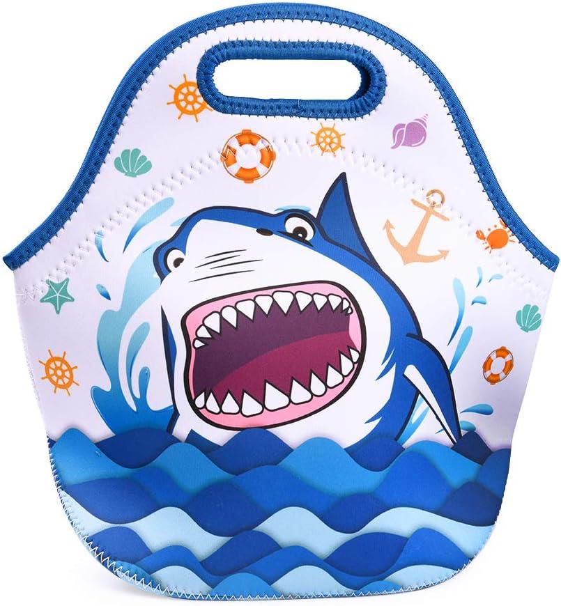 WERNNSAI Shark Lunch Bag - Neoprene Insulated Lunch Tote Bag for Kids Boys School Picnic Fishing Beach Reusable Waterproof Lunch Handbag Best Gifts