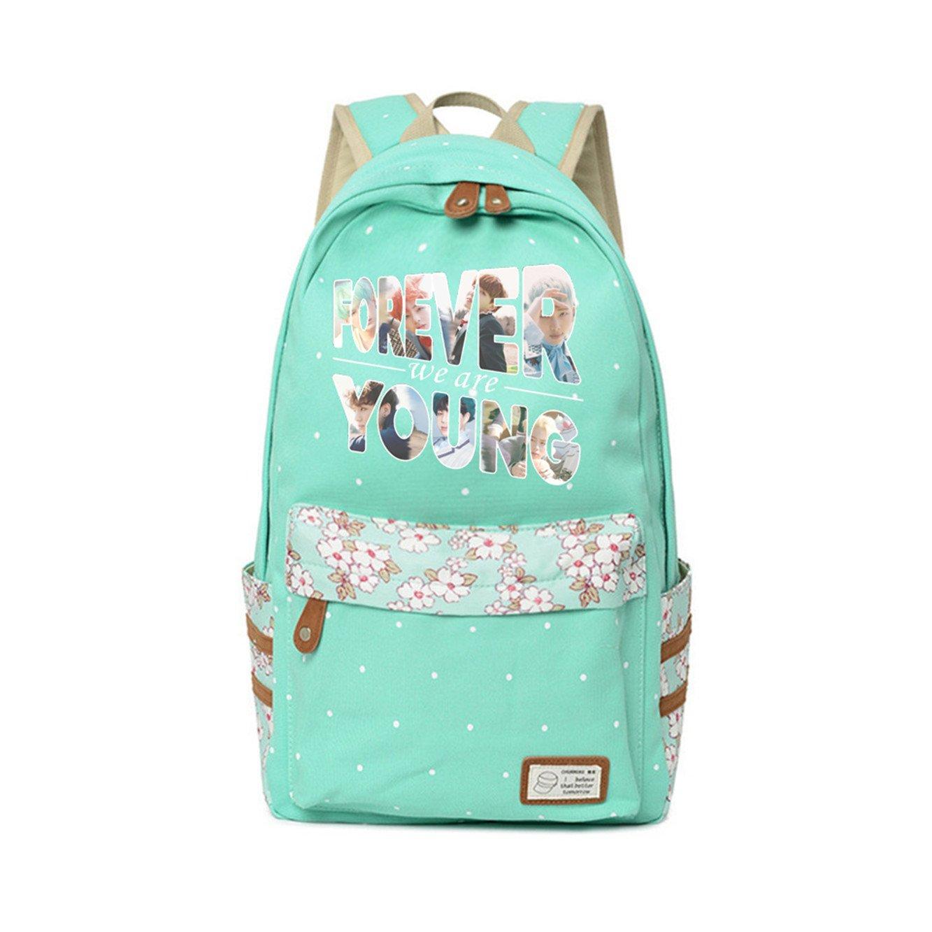 JUSTGOGO KPOP BTS Bangtan boys Backpack Daypack Laptop Bag College Bag Book Bag School Bag (Green 2)