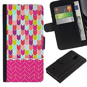 Chevron del rosa del arte del trullo púrpura verde- la tarjeta de Crédito Slots PU Funda de cuero Monedero caso cubierta de piel Para Samsung Galaxy S5 Mini (Not S5), SM-G800