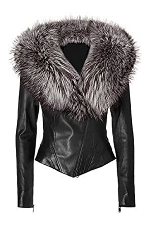 Ladies Lamb Nappa Leather Jacket with Real Silver Fox Fur
