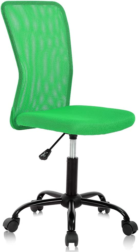 Home Office Chair Computer Chair Small Office Chair Mid Back Mesh Chair Height Adjustable Desk Chair, Modern Task Chair No Armrest Cheap Rolling Swivel Chair Student Office Chair with Wheels,Green