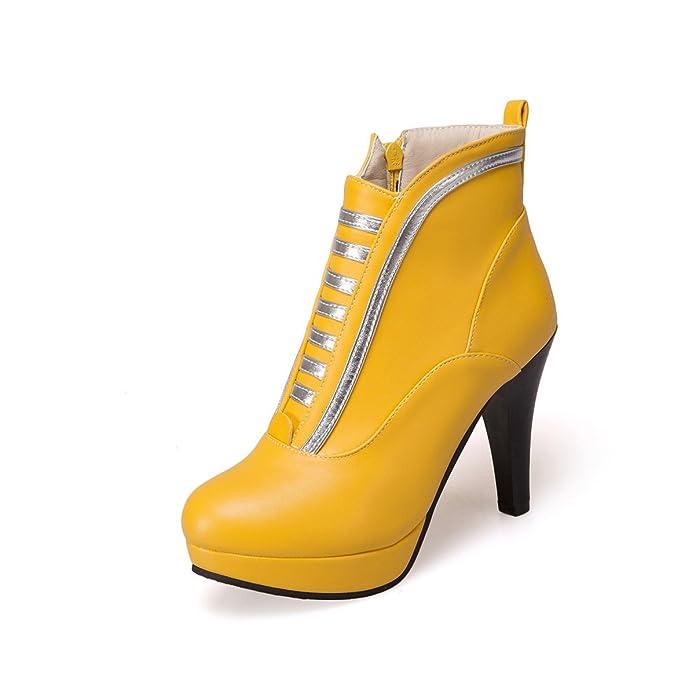 MEI&S Block der Frauen High Heels Runder Ankle Boots Plateauschuhe, Weiß, 37 LSM-Stiefel