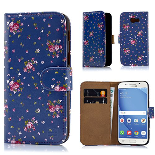 Samsung A517 Protector Case Cover (32nd Floral Design Leather Wallet Case for Samsung Galaxy A5 (2017), Designer Flower Pattern Wallet Style Case Cover With Card Slots - Vintage Rose Indigo)