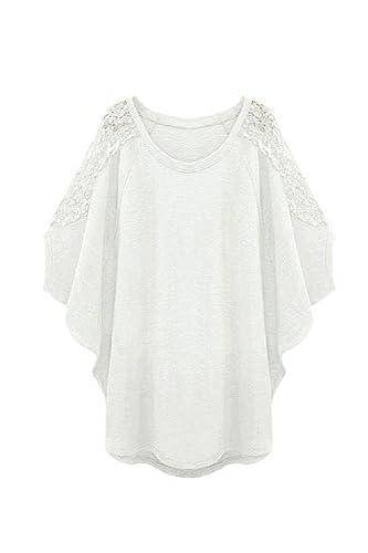 Women Plus Size Casual Batwing Suelto Blusas Tops Tee Camisa De Encaje Hueco Fuera