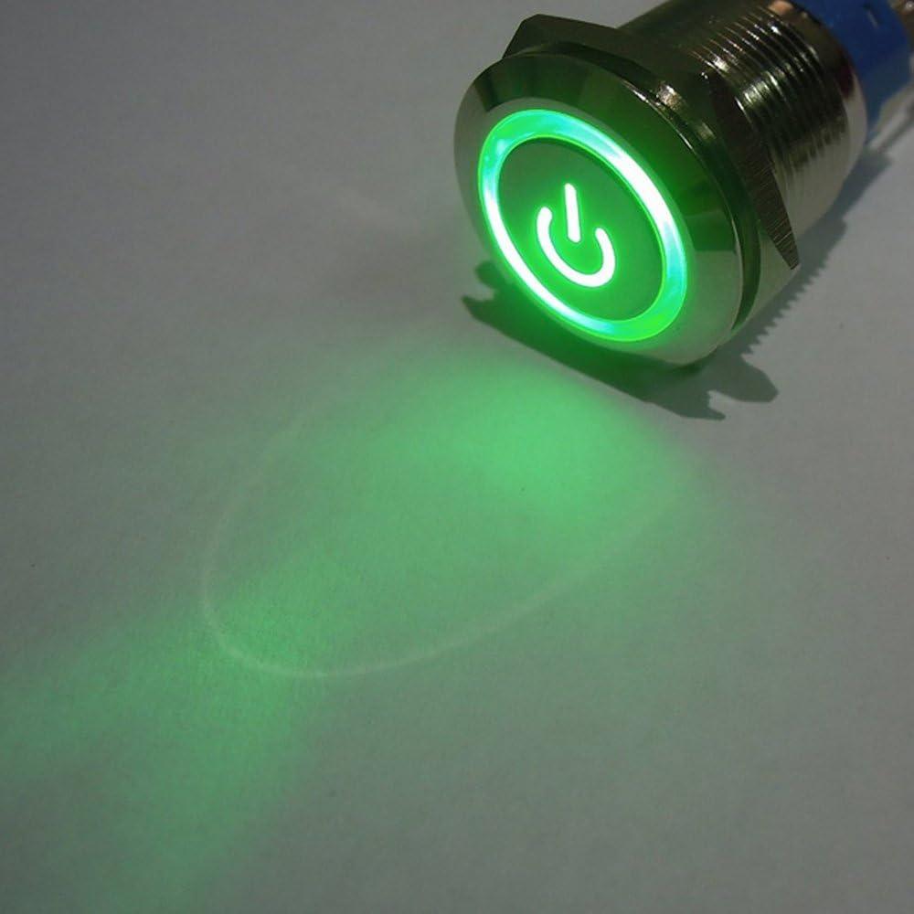 E Support/™ Kippschalter Druckschalter Schalter Drucktaster Druckknopf 16mm 12V 3A Rot LED Licht Metall