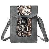 VanGoddy Snake Skin Design Vertical Crossbody Bag Wallet carring case pouch for Samsung Galaxy Mega 2 3 / Galaxy S7 Edge / S6 Active / S6 Edge+ Plus / Galaxy J3 J5 J7 / Grand Prime (Gray)