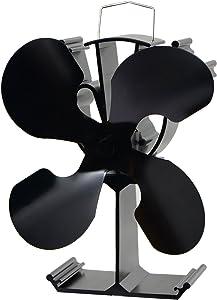 4-Blade Heat Powered Stove Fan for Wood / Log Burner/Fireplace - Eco Friendly(Black)