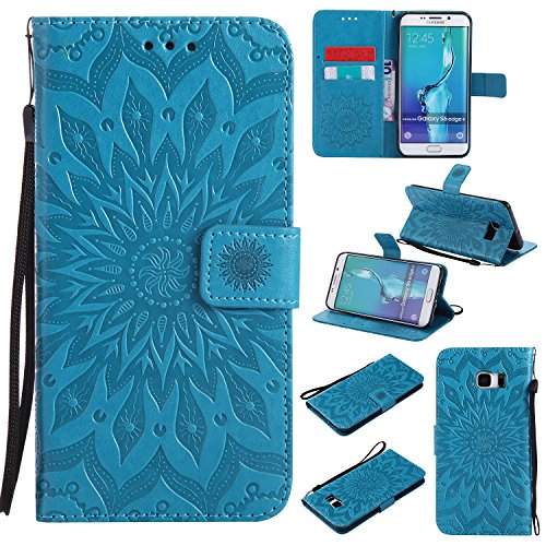 Price comparison product image Galaxy S7 Edge Wallet Case,A-slim(TM) Beauty Fashion Sun Pattern Embossed PU Leather Magnetic Flip Cover Card Holders & Hand Strap Wallet Purse Cover Case for Samsung Galaxy S7 Edge - Blue