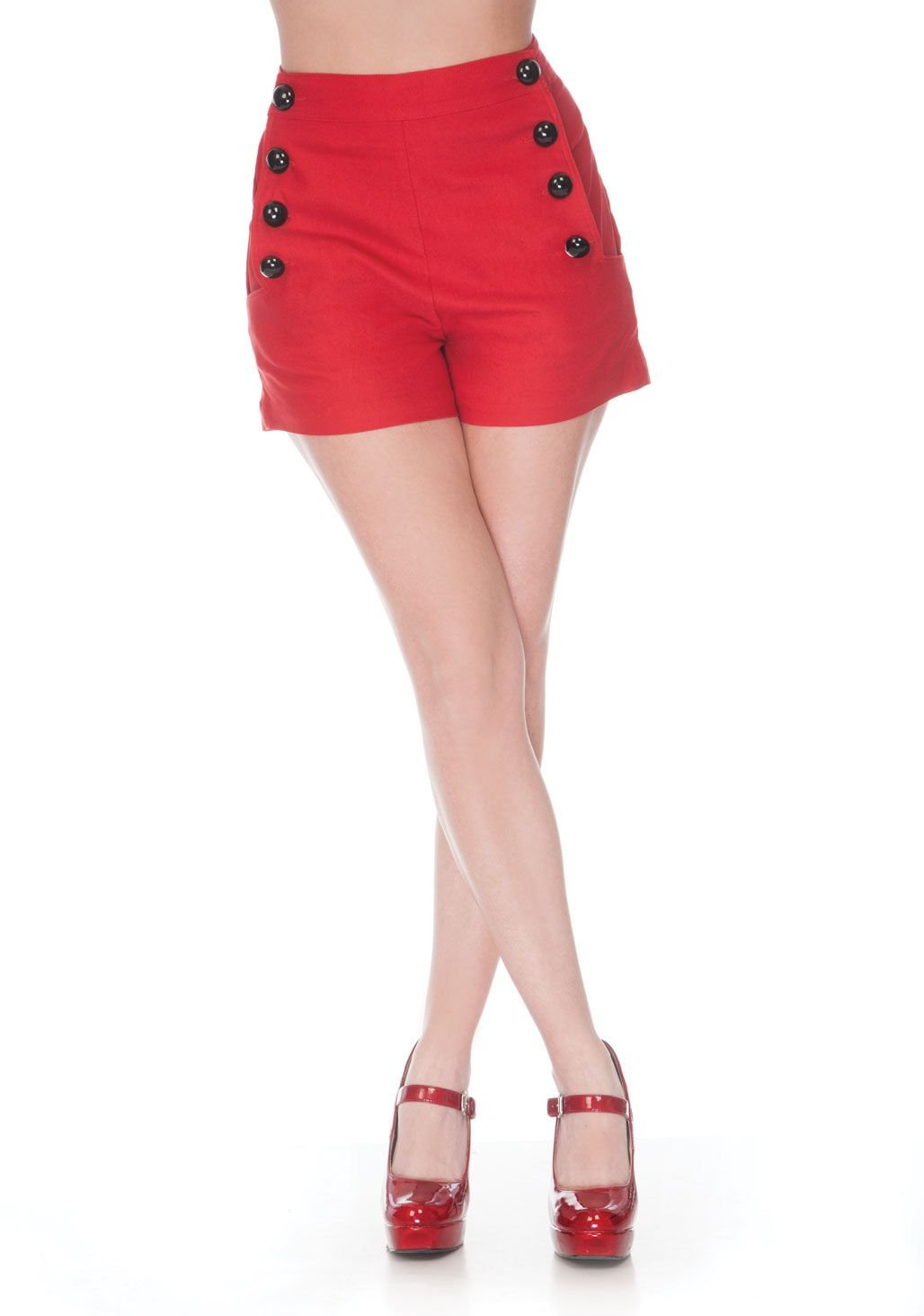 Pinup 60's Bombshell Sexy Red Stretch High Rise Waisted Sailor Shorts (L)