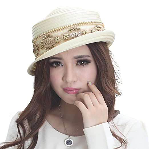 691c1bee8721e Women Floral Wide Brim Church Derby Kentucky Dress Hat Simple Styles (Off  White)
