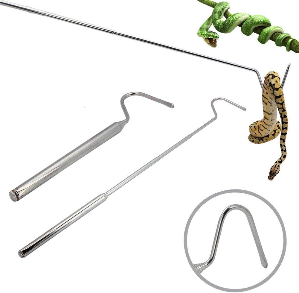 Senzeal Retráctil Snake Rod Gancho de Acero Inoxidable Reptile Supplies Profesional para Amantes de la Serpiente Plata