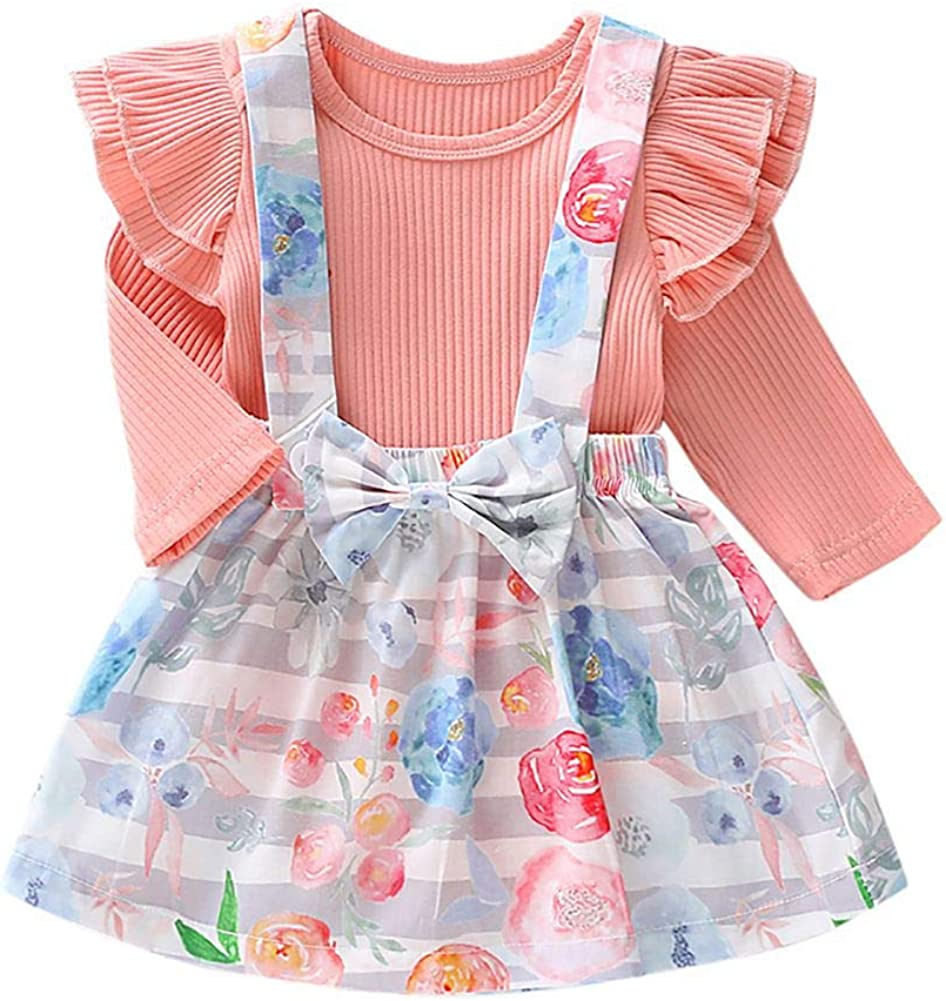 URMAGIC Baby Girls Rompers Skirt Costume Toddler Girls 2 PCs Long Sleeve Rompers Floral Pattern Strap Dress Sets Outfits