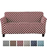 Home Fashion Designs Form Fit, Slip Resistant, Stylish Furniture Cover/Protector Featuring Lightweight Stretch Twill Fabric. Brenna Collection Basic Strapless Slipcover Brand. (Sofa, Burgundy)