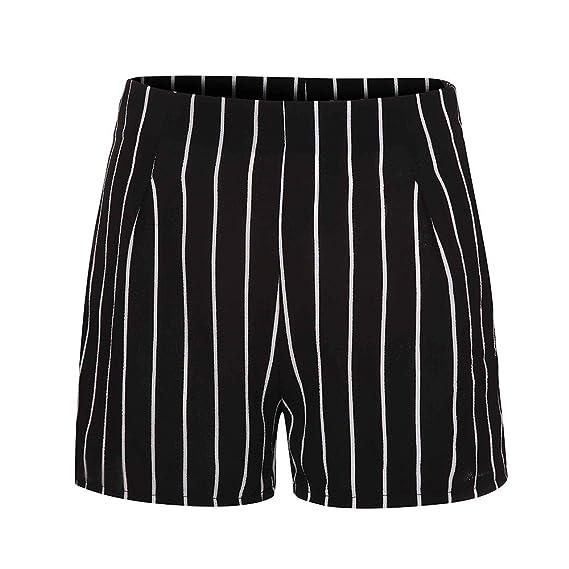 kaufen suche nach authentisch außergewöhnliche Farbpalette Damen Mode Gestreifte Shorts Freizeithosen Reißverschluss ...