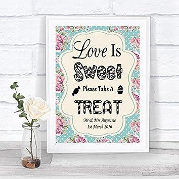 Vintage Shabby Chic Love Is Sweet Candy Bar carro BUFFET personalizada boda señal: Amazon.es: Oficina y papelería
