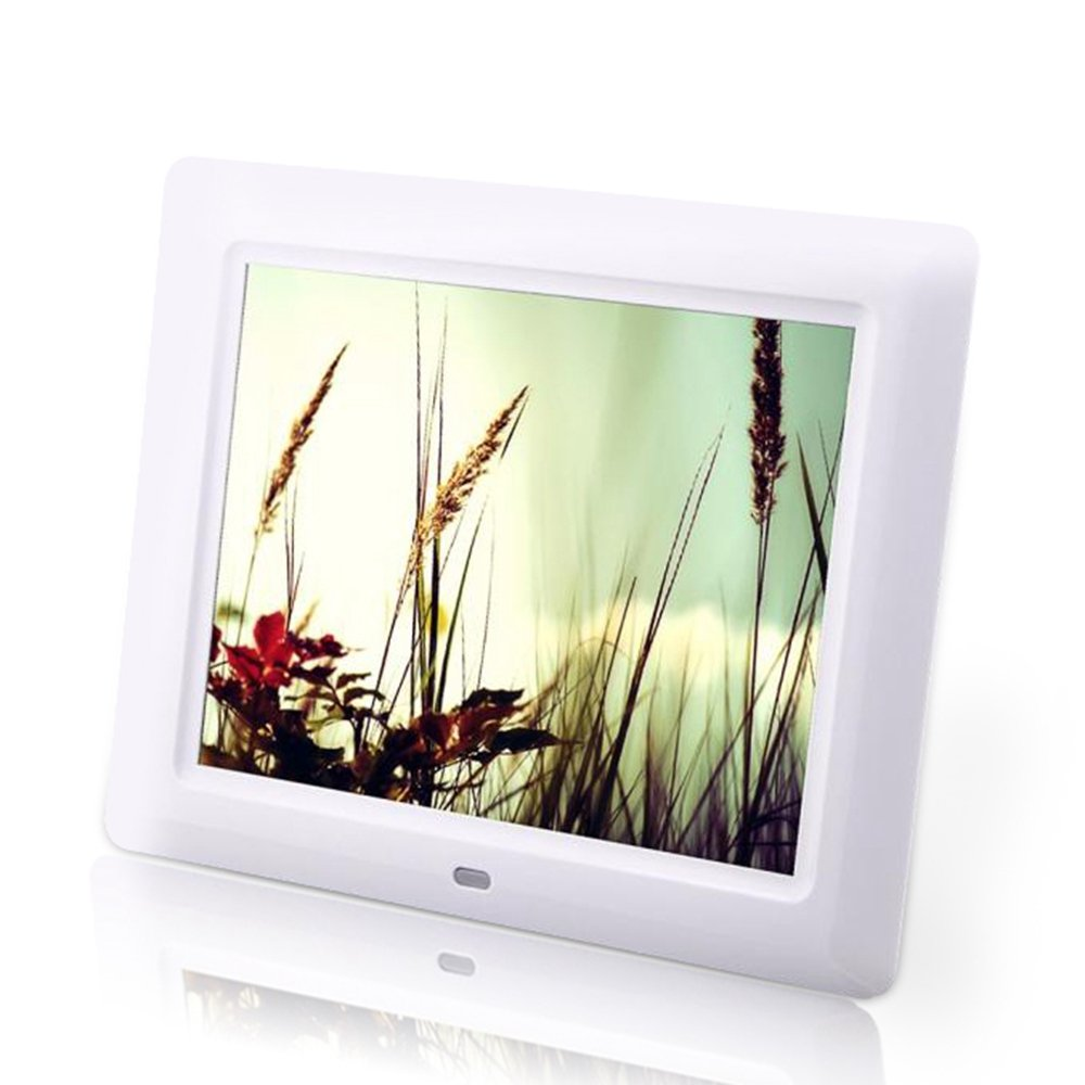 Celendi 8 inch 800x600 Hi-Res LED Digital Photo Frame MP3 and HD Video Player with Remote Controller, Clock/Calendar Display, USB/SD Input, wHITE Ce-203