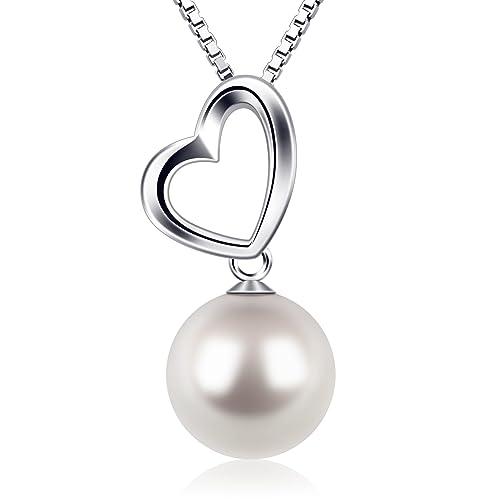 7237df669609 Perla Collares Mujer Plata de Ley 925 Corazón D.Perla Perla Joyas Cunjunto  con 45cm Cadena Regalos Originales Para Mujer  Amazon.es  Joyería