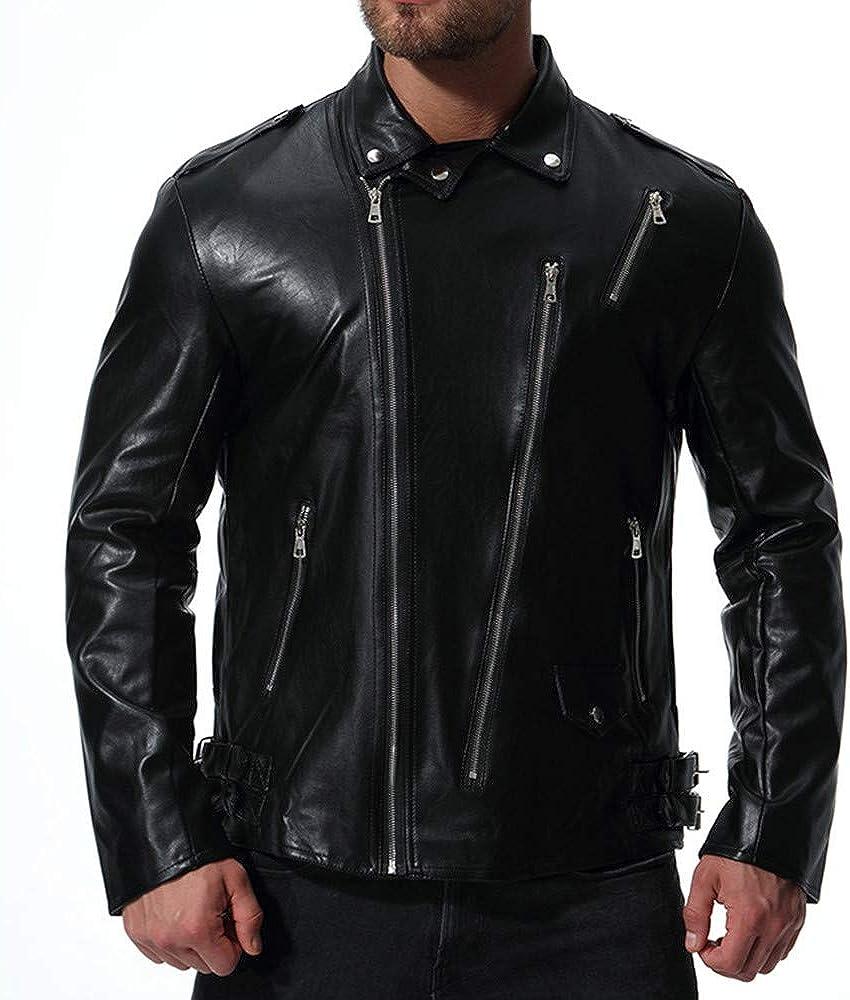 Hattfart Men/'s Leather Motorcycle Jacket Side Zipper Premium Natural Buffalo Leather Jacket Coat