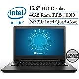 "2016 Lenovo Ideapad 15.6"" HD LED Backlight Premium High Performance Laptop, Intel Pentium Quad-Core Processor 4GB RAM 1TB HDD, DVD +/- RW, Webcam WiFi 802.11 AC, Bluetooth HDMI Windows 10"