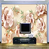 LHDLily 3D Wallpaper Mural Wall Sticker Thickening Pink Peach Relief Photography Background Modern Europe Art For Living Room Large Painting Wall Panel 400cmX300cm