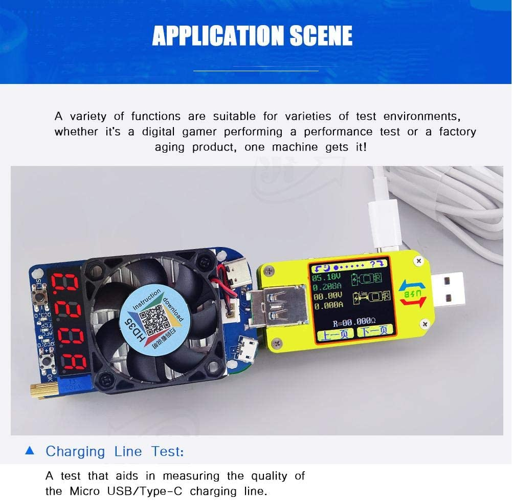 ,USB Electronic,USB Load Tester Module Resistor Ccylez Voltage Meter,USB Electronic Load Resistor Voltage Meter Discharge Battery Tester HD35 5A//35W