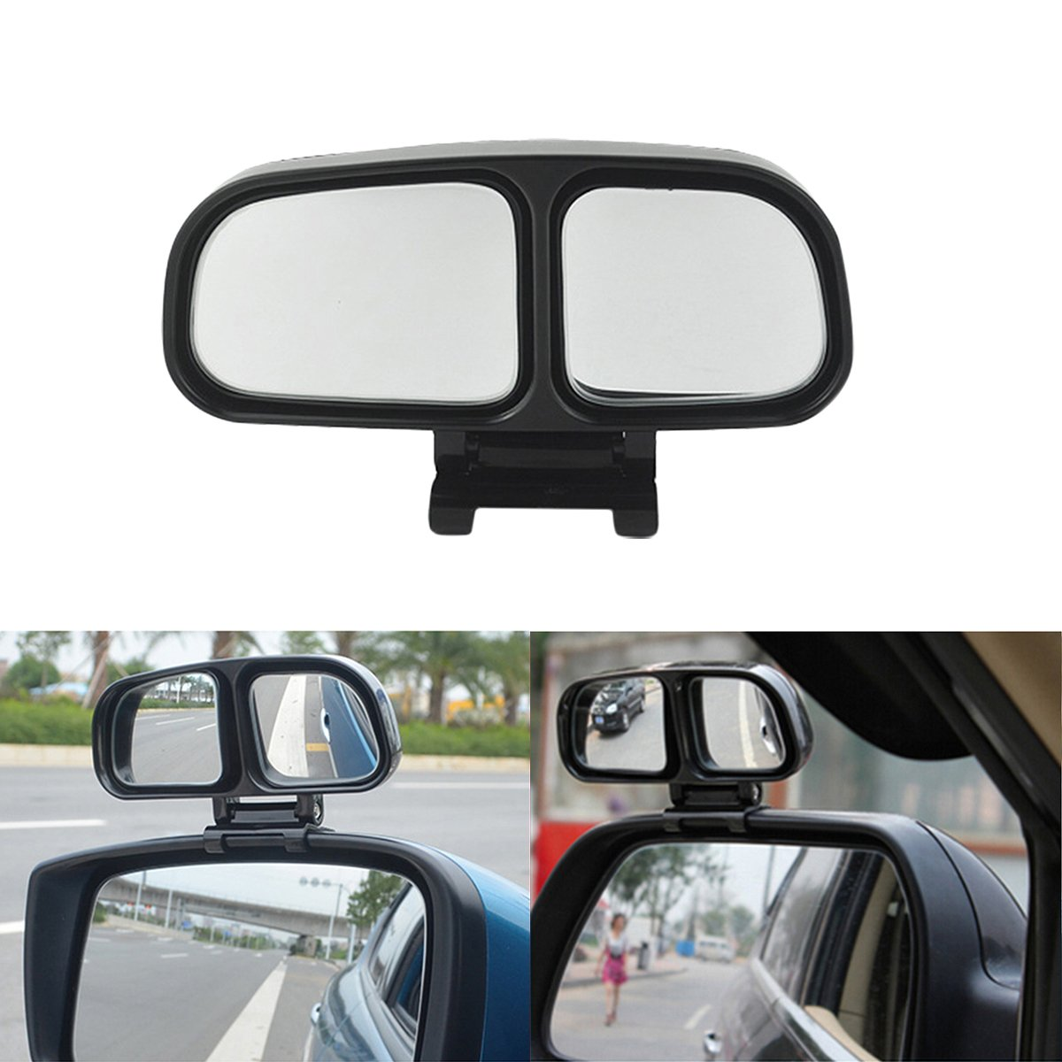 Car Auxiliary Left Chrome Blind Spot Mirror, ECLEAR Universal Rear Side 360° Wide Angle View Mirrors for Vehicle Suv Truck Motorcycle Fit Stick-on Design 1 Piece,Black