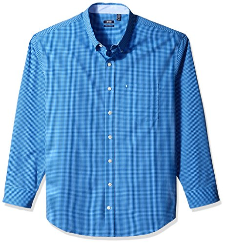 IZOD Men's Premium Performance Natural Stretch Gingham Long Sleeve Shirt (Big & Tall and Tall Slim) -