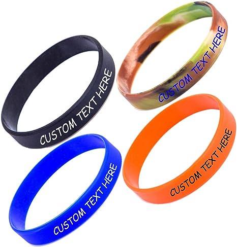Nircsom - Pulsera de silicona personalizada, personalizable, para motivación, eventos, regalos, apoyo, causas, recaudación de fondos: Amazon.es: Deportes y aire libre