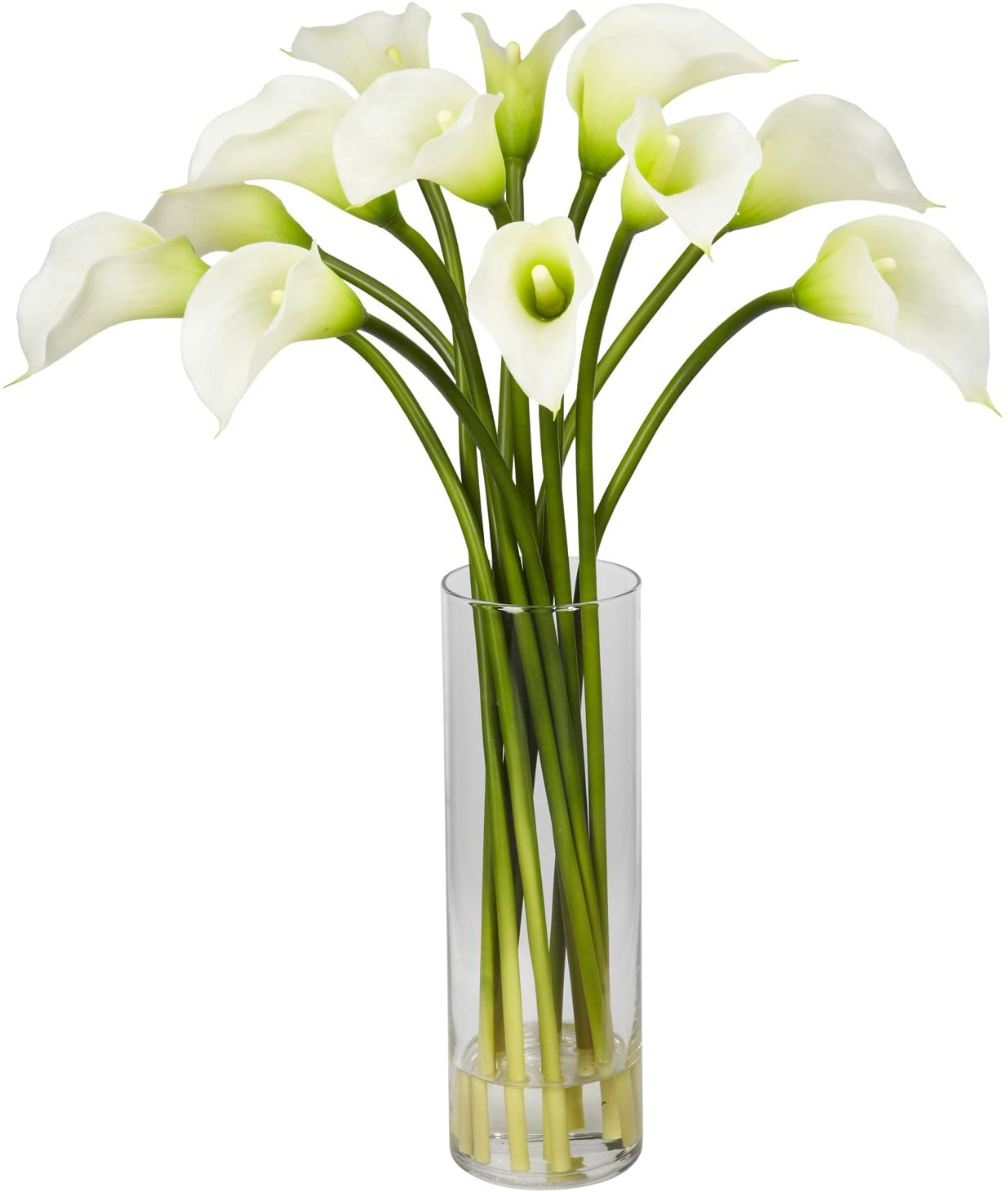 Nearly Natural 1187-CR Mini Calla Lily Silk Flower Arrangement, Cream, 15 In. W x 15 In. D x 20 In. H