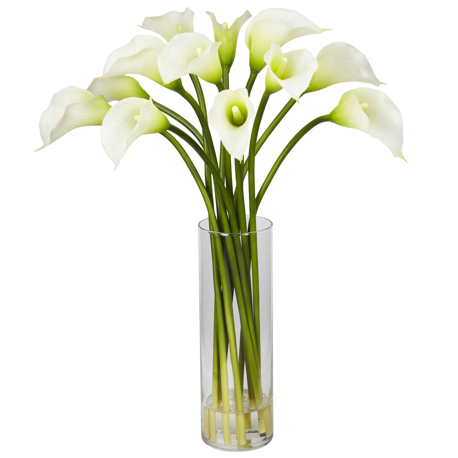 Nearly Natural 1187-CR Mini Calla Lily Silk Flower Arrangement, Cream by Nearly Natural