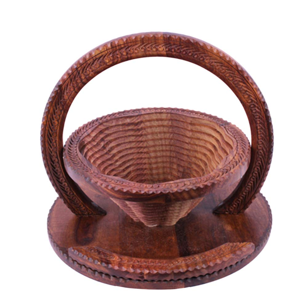 TTShonf Wooden Collapsible Fruit Bowl Carved Bread Basket 12inch Elegant Hand Crafted Wooden by TTShonf (Image #2)