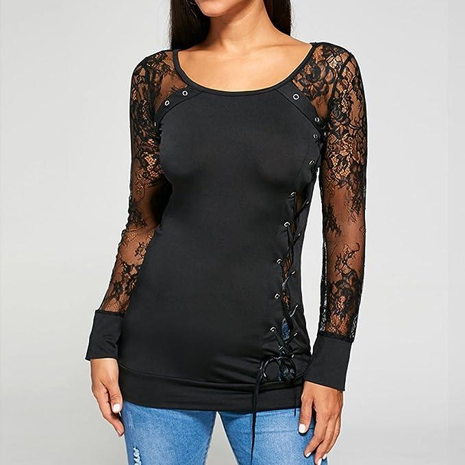 Hibote Mujer Camiseta de Encaje Camisa Tops Sin Espalda Atractivas O Cuello Mangas Largas Camisas Blusa