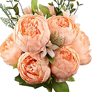 Silk Flower Arrangements LeagelFake Flowers Vintage Artificial Peony Silk Flowers Bouquet Wedding Home Decoration, Pack of 1 (Spring Orange)