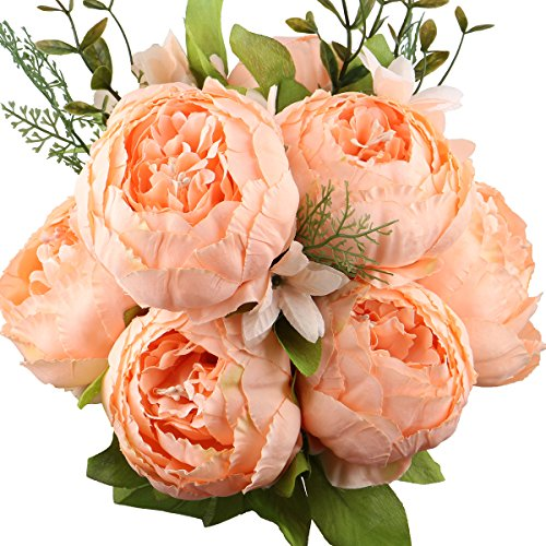Leagel Fake Flowers Vintage Artificial Peony Silk Flowers Bouquet Wedding Home Decoration, Pack of 1 (Spring Orange) (Spring Bouquet 2)