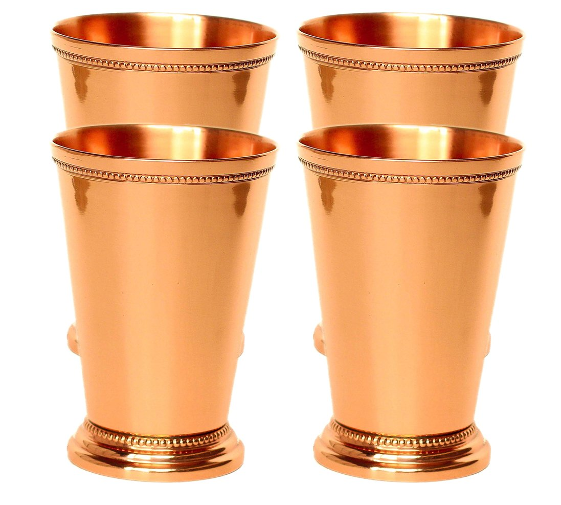 Mint Julep Cup Pure Copper Moscow Mule Mint Julep Cup beautifully handcrafted Capacity 12 Ounce Smooth Handcrafted beading Pack of 4