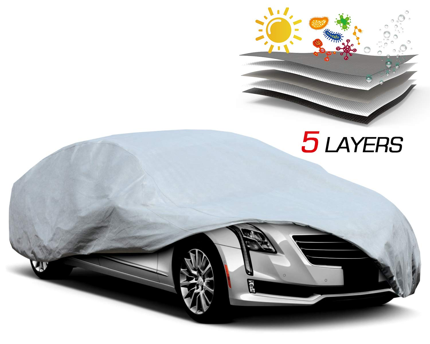 Leadpro Advanced Waterproof and Breathable Ultra Soft three-layer construction car cover size 185' suitable for Honda Civic, Toyota Corrola, Ford Fiesta
