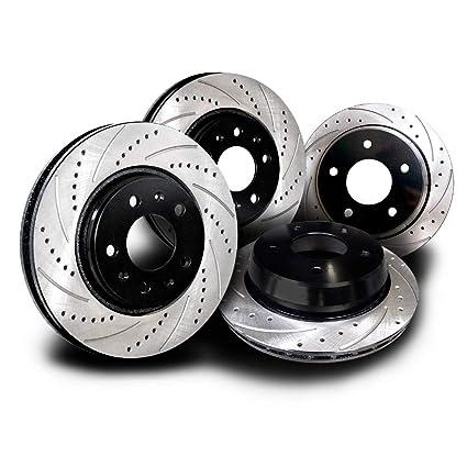 Fit 2008-2009 Infiniti G37 Rear Black Drill Slot Brake Rotors+Ceramic Brake Pads
