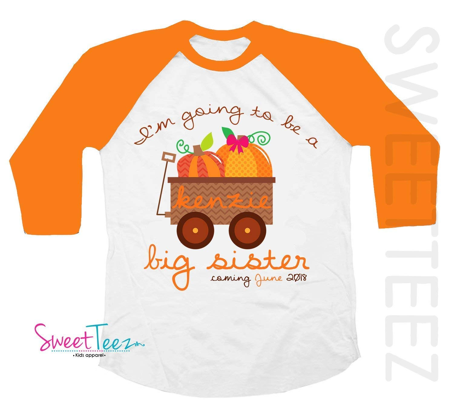 Big Sister Shirt Pumpkin Shirt Personalized Due Date for Fall and Thanksgiving Pregnancy Announcement Orange Raglan Shirt Thanksgiving
