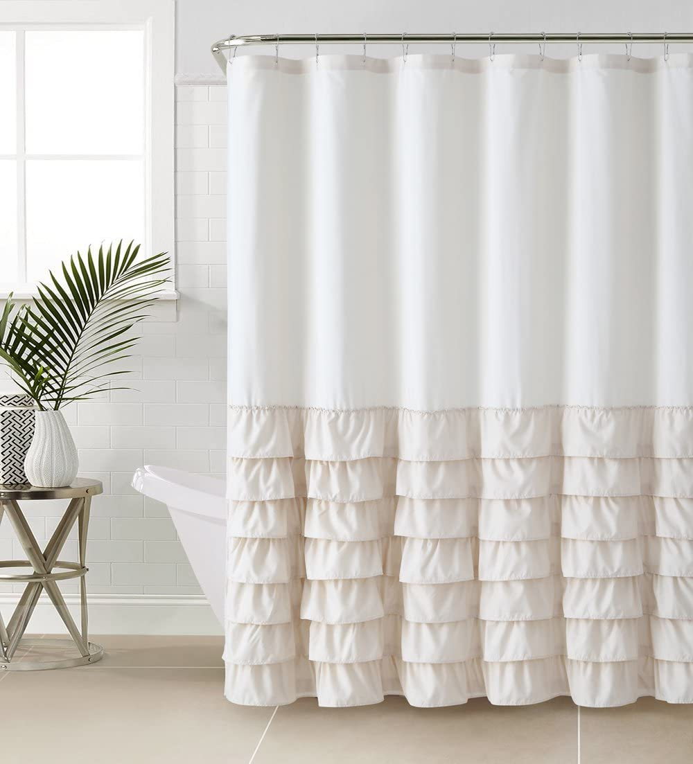VCNY Melanie Ruffle Shower Curtain, Taupe