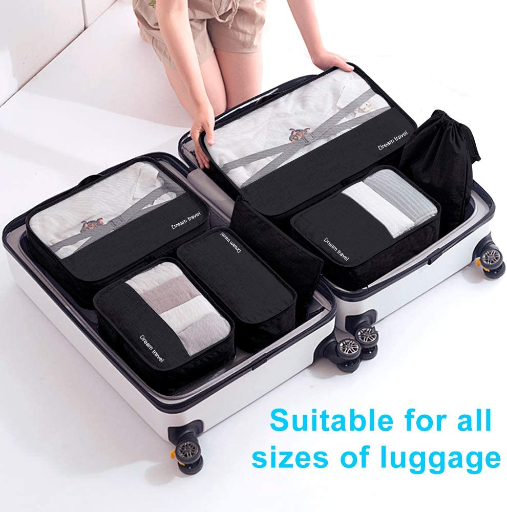 /étanche Organisateur de Valise Emballage en Cube Voyage Bagages Organisateur yidenguk Kit de 7 Organisateurs de Voyage Cube demballage Sacs de Rangement pour V/êtement Chaussures Cosm/étique Noir
