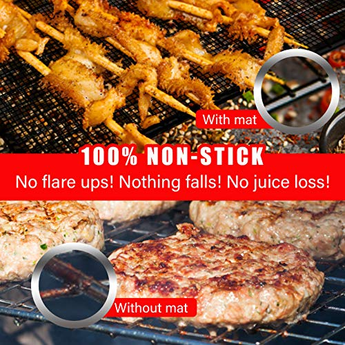 PR PeakRous Grill Mats for Outdoor Grill, 5 Packs (2 Copper Grill Mats, 3 BBQ Mesh Mats, 2 Cleaners) Heavy Duty 0.3MM Thicker Baking Mats Nonstick Reusable for Charcoal Gas Electric Grill