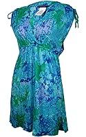LAUREN Ralph Lauren Oceania Floral Farrah Dress Crushed Cotton Cover-Up Blue Multi Women's Swimwear