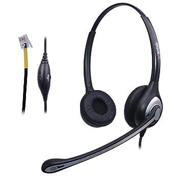 Auriculares Teléfono Fijo RJ9 Binaural, Micrófono con Cancelación de Ruido, WANTEK Cascos con Control