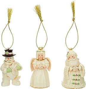 Lenox Ivory China Holiday / Christmas Ornament with 24k Accents 3 PC set (Santa, Snowman, Angel) [Set of 3]