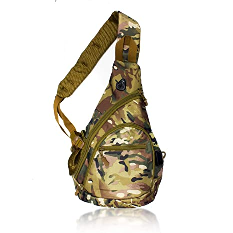 461b2b8f7e90 Tac Threads Green Camo Canvas Crossbody Sling Bag, Shoulder Bag, Mini  Travel Backpack with USB Port for Charging, Hunting Fishing Water Resistant  ...